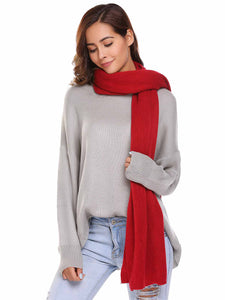 Zeagoo Soft Solid Red Knitted Scarves Collar