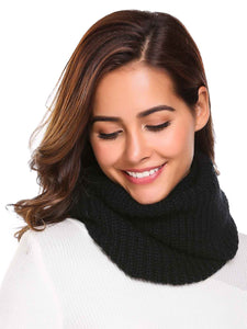 Zeagoo Soft Solid Pattern Knitted Scarves Collar_Black