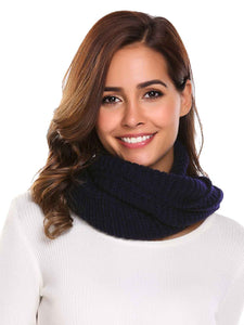 Zeagoo Soft Solid Pattern Knitted Scarves Collar_Indigo