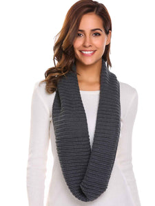 Zeagoo Soft Solid Pattern Knitted Scarves Collar_Grey