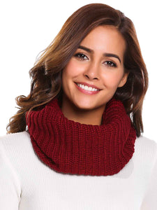 Zeagoo Soft Solid Pattern Knitted Scarves Collar_Wine