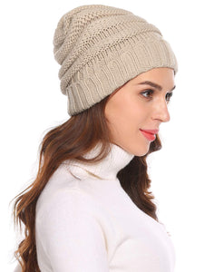 Women Fashion Knitted Beanie_beige