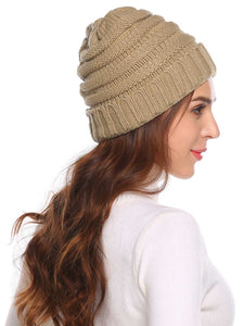 Women Fashion Knitted Beanie_Khaki