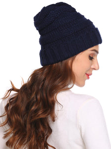 Women Fashion Knitted Beanie_Champlain Blue