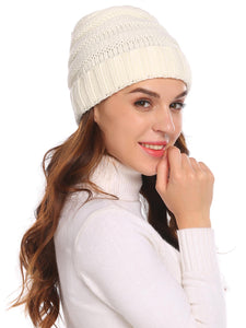 Women Fashion Knitted Beanie_White