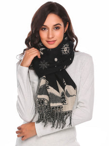 Zeagoo Women Warm Print Knitted Shawl Wrap Scarf