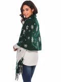 Zeagoo Women Warm Print Knitted Shawl Wrap Scarf_Dark Green