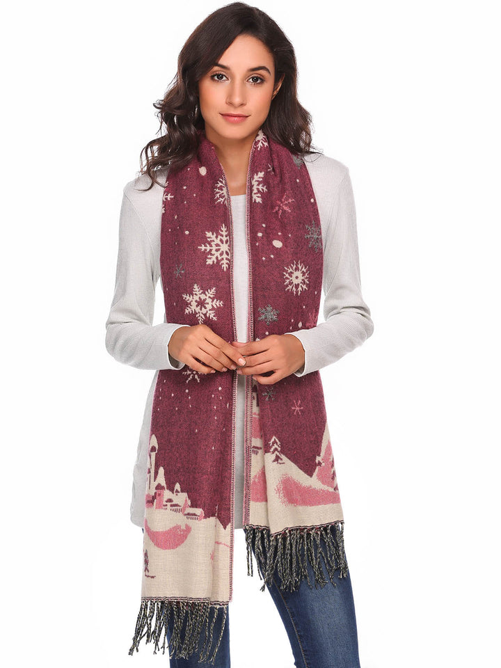 Zeagoo Women Warm Print Knitted Shawl Wrap Scarf_Plum