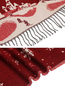 Zeagoo Women Warm Print Knitted Shawl Wrap Scarf_red