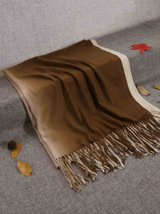 Zeagoo Gradient Color Fringed Scarf_Coffee