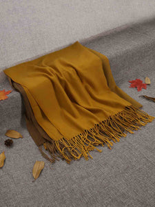Zeagoo Gradient Color Fringed Scarf_Gold