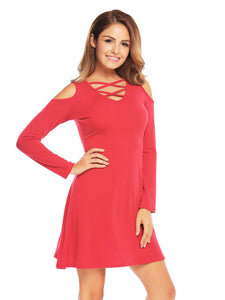 SHESHOW Women Cold Shoulder Tunic Mini Dress