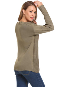 Meaneor Women V-Neck Warm Knit Sweater