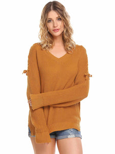 Women Casual Long Sleeve V Neck Solid Loose Fit Knit Pullover Sweater Tops