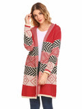 SoTeer Women Long Sleeve Hooded Geometric Pattern Cardigan
