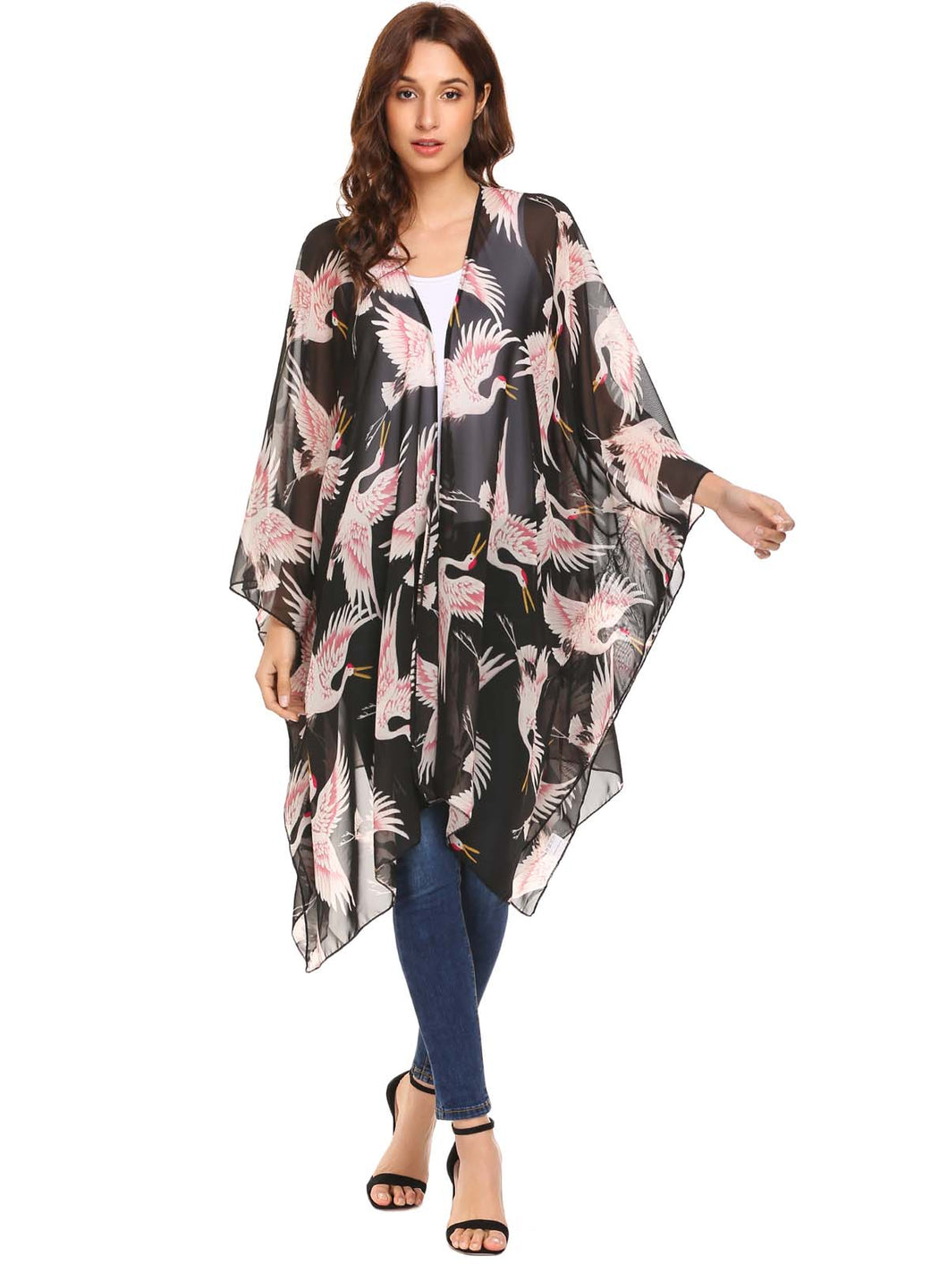SoTeer Women Loose Bat Sleeve Print Cover Up