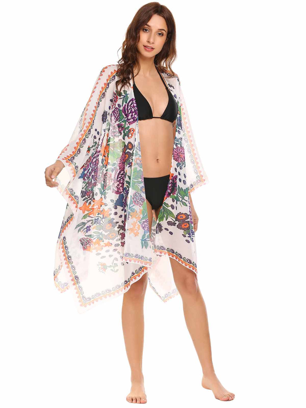 SoTeer Women Loose Bat Sleeve Floral Cover Up