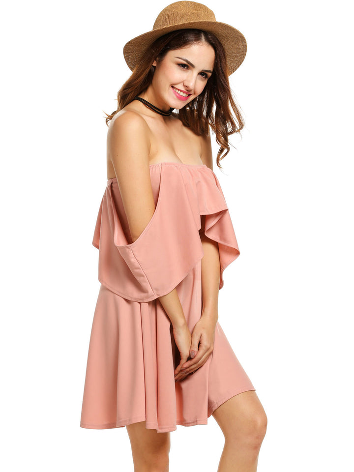 Women Casual Ruffled Collar Off Shoulder Party  Dress Pink
