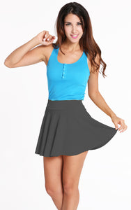 ACEVOG Women Candy Color Elastic Waist Plain Skater A-Line Mini Skirt