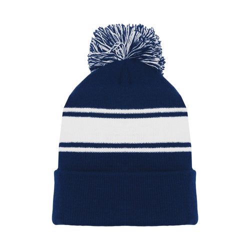 A1830-216 Navy/White Blank Hockey Beanie Hat