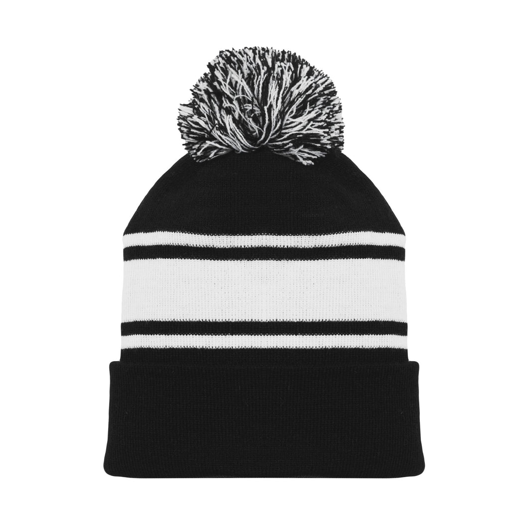 A1830-221 Black/White Blank Hockey Beanie Hat