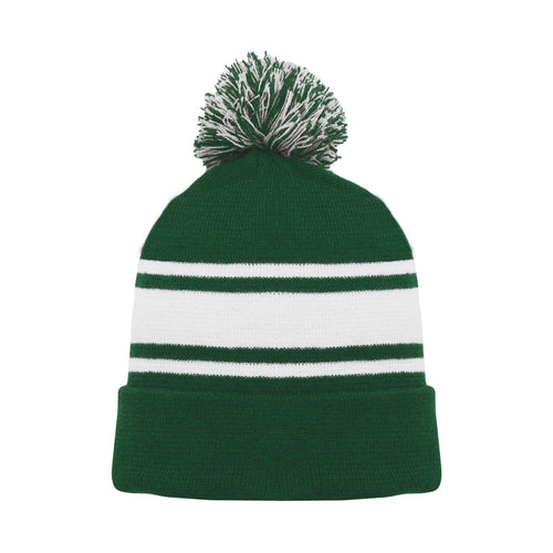 A1830-260 Dark Green/White Blank Hockey Beanie Hat