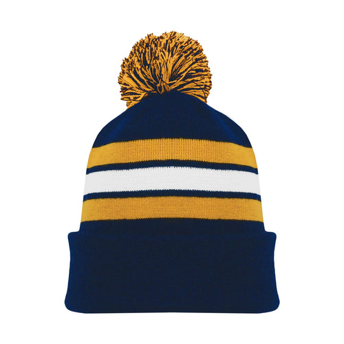 A1830-460 Navy/Gold/White Blank Hockey Beanie Hat