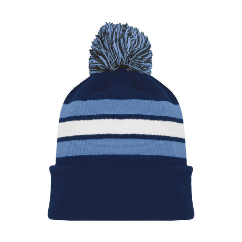 A1830-761 Navy/Sky/White Blank Hockey Beanie Hat