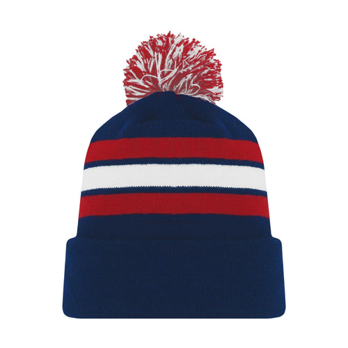 A1830-764 Navy/Red/White Blank Hockey Beanie Hat