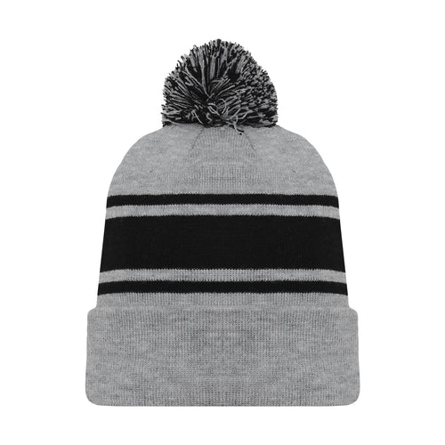 A1830-920 Heather Grey/Black Blank Hockey Beanie Hat