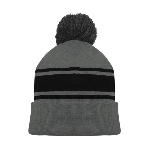A1830-930 Heather Charcoal Grey/Black Blank Hockey Beanie Hat