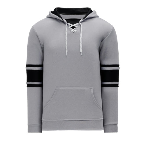A1845-920 Heather Grey/Black Blank Hoodie Sweatshirt