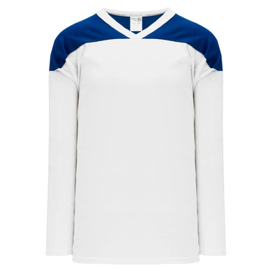 H6100-207 White/Royal Practice Style Blank Hockey Jerseys