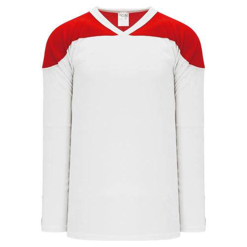 H6100-209 White/Red Practice Style Blank Hockey Jerseys