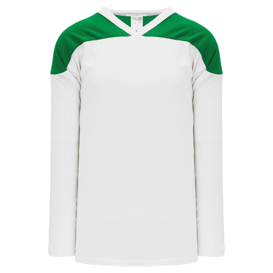H6100-211 White/Kelly Practice Style Blank Hockey Jerseys