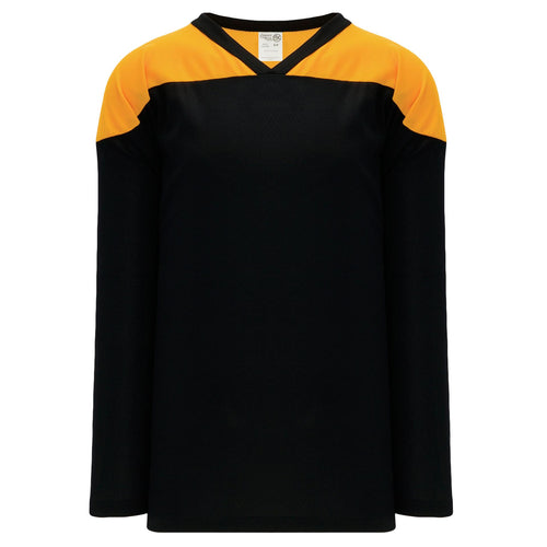 H6100-212 Black/Gold Practice Style Blank Hockey Jerseys
