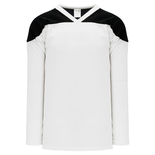 H6100-222 White/Black Practice Style Blank Hockey Jerseys