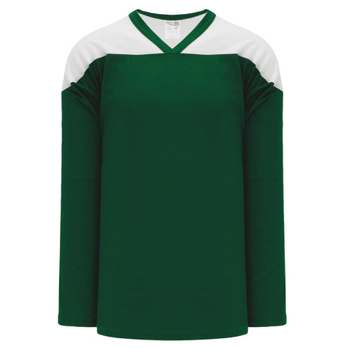 H6100-260 Dark Green/White Practice Style Blank Hockey Jerseys