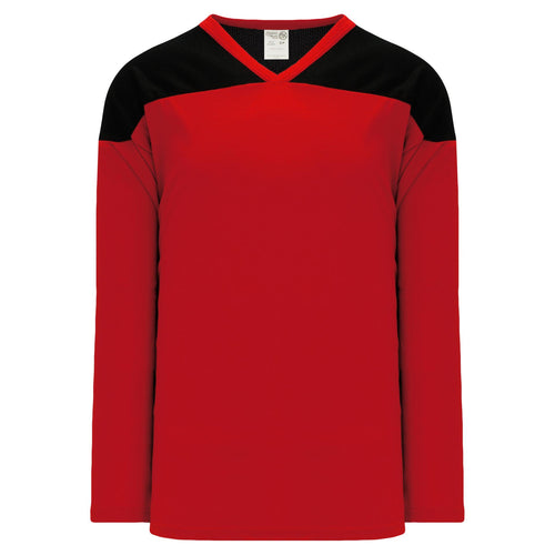 H6100-264 Red/Black Practice Style Blank Hockey Jerseys