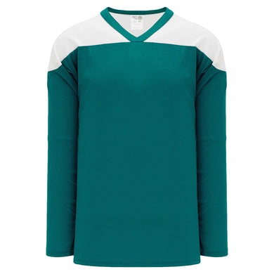 H6100-288 Teal/White Practice Style Blank Hockey Jerseys
