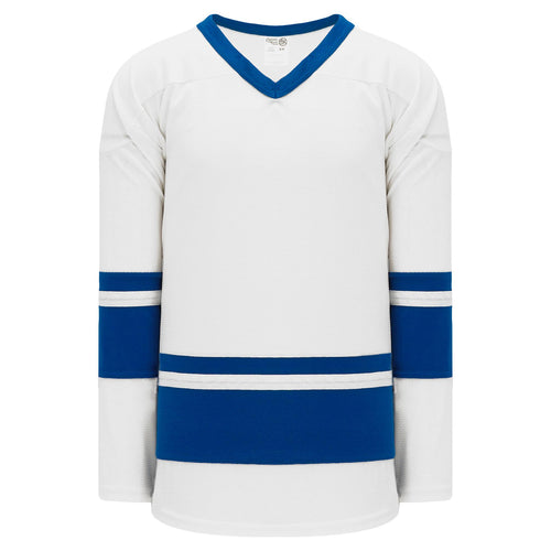 H6400-207 White/Royal League Style Blank Hockey Jerseys