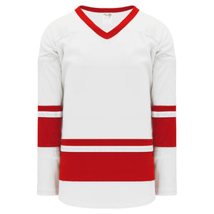 H6400-209 White/Red League Style Blank Hockey Jerseys