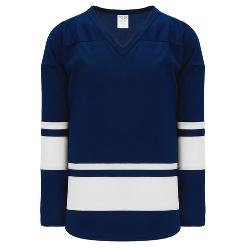 H6400-216 Navy/White League Style Blank Hockey Jerseys