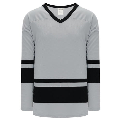 H6400-822 Grey/Black League Style Blank Hockey Jerseys