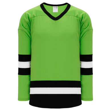 H6500-107 Lime Green/Black/White League Style Blank Hockey Jerseys