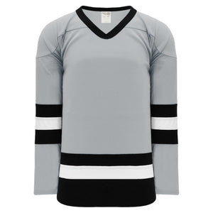 H6500-112 Grey/Black/White League Style Blank Hockey Jerseys