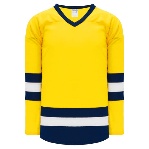 H6500-255 Maize/Navy/White League Style Blank Hockey Jerseys