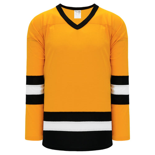 H6500-329 Gold/Black/White League Style Blank Hockey Jerseys