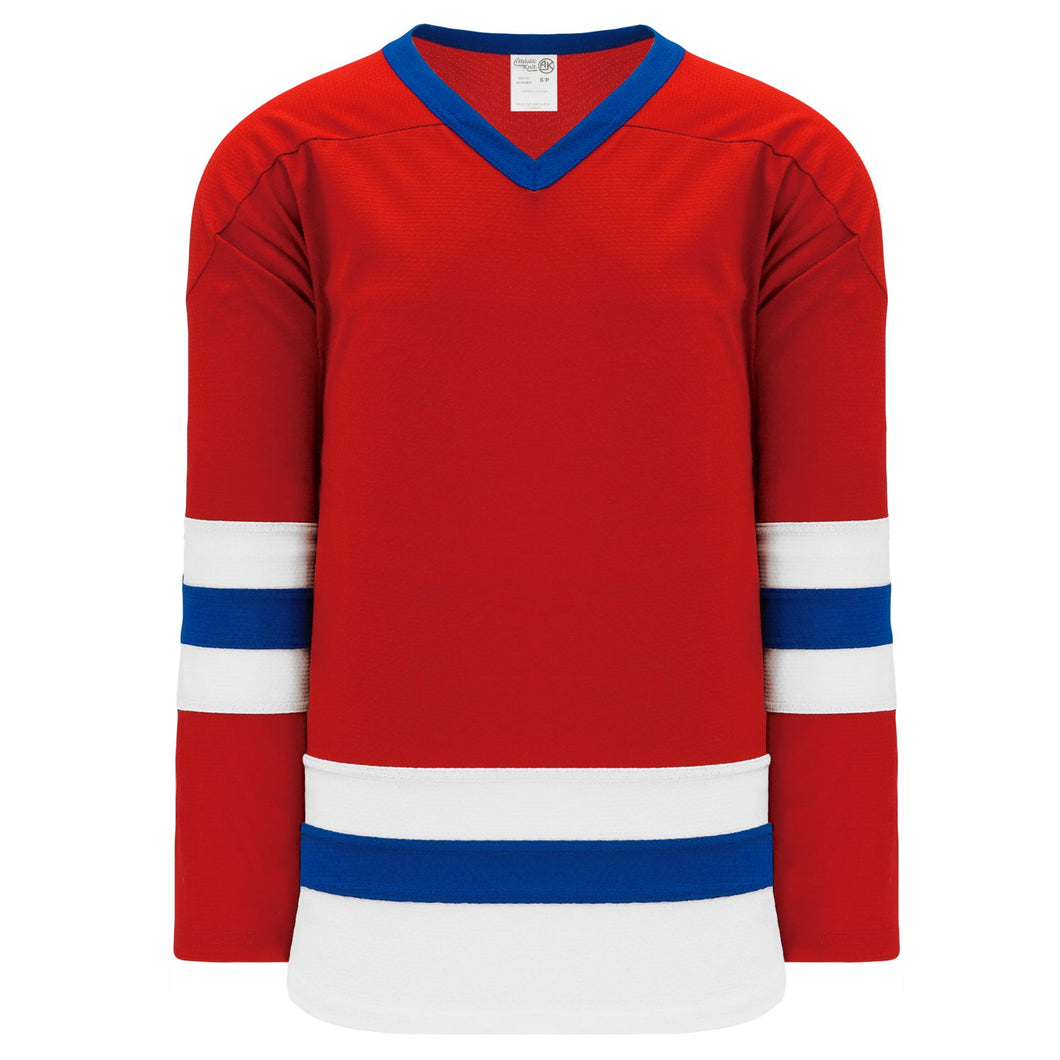 H6500-344 Red/White/Royal League Style Blank Hockey Jerseys