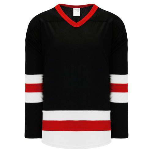 H6500-348 Black/White/Red League Style Blank Hockey Jerseys